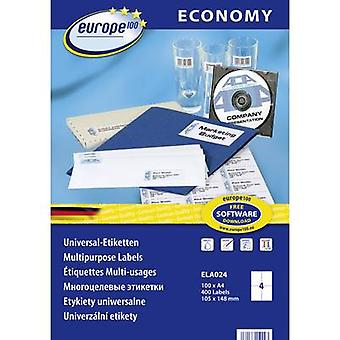 Europe 100 ELA024 Labels 105 x 148.5 mm Paper White 400 pc(s) Permanent All-purpose labels Inkjet, Laser, Copier 100 sheet A4