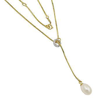 Kjeden - slange kjede - Y smykke - kjede - Pearl - cubic zirconia - 9Kt gull - 45 cm