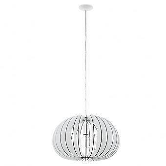 EGLO Cossano 450mm vit tvätt trä Globe siluett hänge
