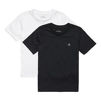 Calvin Klein chłopców 2 szt nowoczesne bawełniana koszulka z krótkim rękawem - czarny / biały