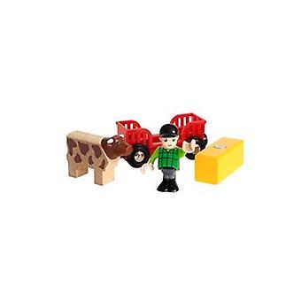 BRIO Farm Boy Play Kit 33879 Wooden Railway Wagon supplémentaire et le garçon de ferme