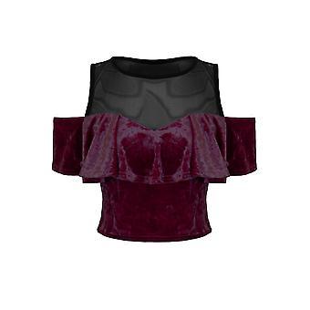Ladies Off Shoulder Ruffle Frill Bardot Mesh Insert Crushed Velvet Velour Crop Top