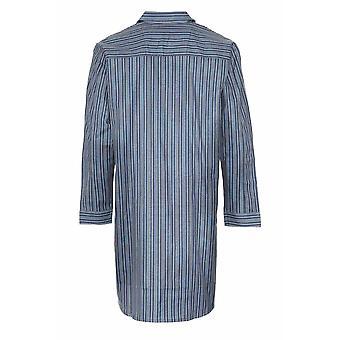 Mens mester børstet bomull Nightshirt Sleepwear Sleepwear mørkeblå 3XL