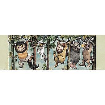 Donde las cosas salvajes son cartel donde viven los salvajes. Ilustración por Mauice Sendak. Póster de puerta de pequeño formato 30,5 x 91,5 cm