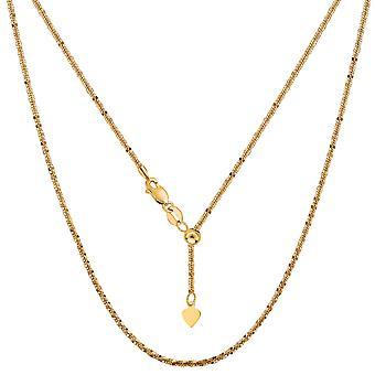 14 k Gelb Gold verstellbaren Sparkle Kette Halskette, 1,5 mm, 22