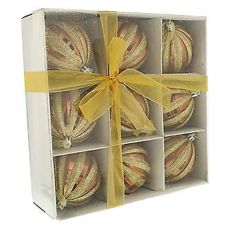 Festliche Produktionen 9 Pack 80mm Weihnachtskugel glänzende braune Bruchsichere Christbaumkugeln