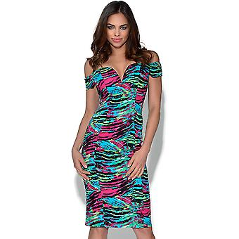 RARE Animal Print Sweetheart Bardot Dress