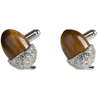 Simon Carter Tigers Eye Acorn Cufflinks - Brown