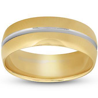 8MM Erkek 14k Sarı Altın Yüzük İki Ton Fırçalı Düğün Bandı