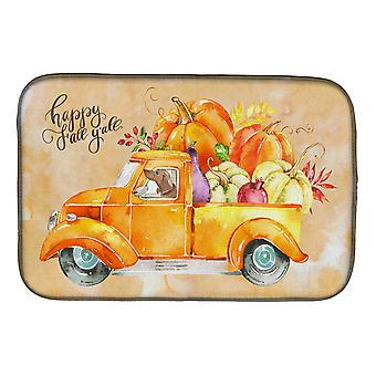 Carolines Treasures  CK2677DDM Fall Harvest Red Dachshund Dish Drying Mat