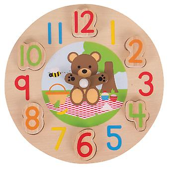Bigjigs Toys Wooden Teddy Bear Clock Tell The Time Educational Numbers