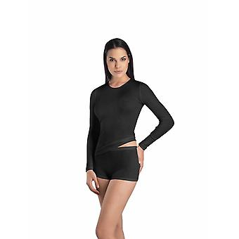 Hanro Ladies ski underwear wool & silk top Black