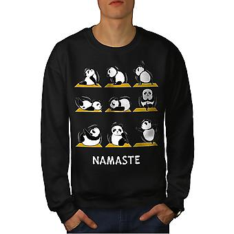 Yoga Poses Funy Men BlackSweatshirt | Wellcoda