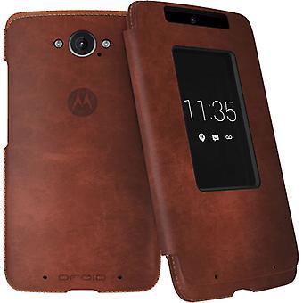 Motorola Flip Case voor Motorola Droid Turbo (donkere natuurlijk leder)