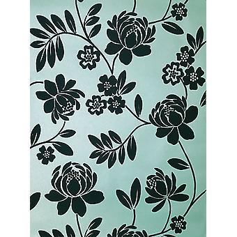 Kristen Flock Floral Wallpaper Duck Egg Brown Metallic Paste Wall Holden Decor
