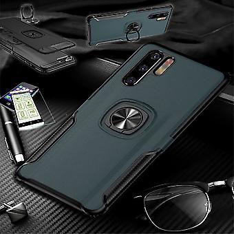 Für Huawei P30 Lite Hybrid Magnet Metall Ring Case Navy + Hartglas Tasche Hülle Cover Hülle