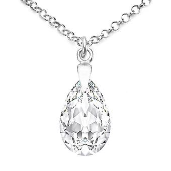 Ah! Jewellery Sterling Silver Clear Crystals From Swarovski Pear Necklace, Stamped 925