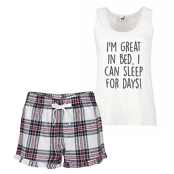 I'm Great In Bed I Can Sleep For Days Pink Tartan Pyjamas