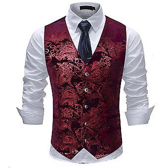 Allthemen Men's सूट बनियान V-गर्दन मुद्रित व्यापार आरामदायक बनियान 5 रंग