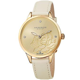 Akribos XXIV Women es Diamond Accented Flower Graved Dial Leather Strap Watch AK1047WT
