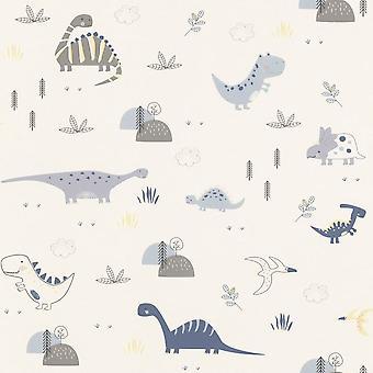 Dinosaurussen behang kinderen kinderkamer kwekerij wit blauw grijs geel Rasch