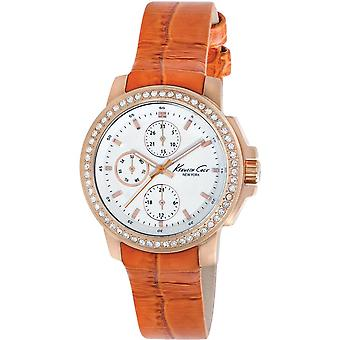 Kenneth Cole New York Orange Leather Multifunction Ladies Watch KC2803