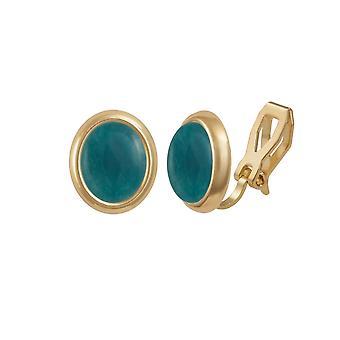 Eternal Collection Minuet Teal Quartz Cabochon Gold Tone Stud Clip On Earrings