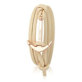Patrón de anclaje pulsera de cuero en color beige con ancla de oro 6990