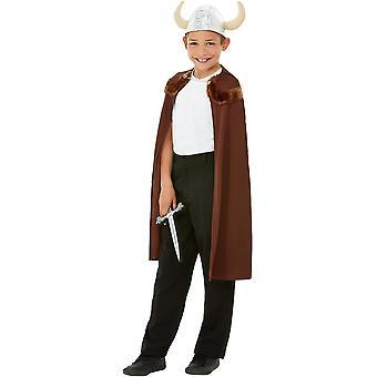 Viking Kids Costume Cloak Brown z kapeluszem i mieczem wykonanym z EVA Plastic Viking Unisex Carnival