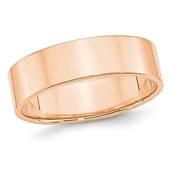 Ladies or Mens 10K Rose PInk Gold 6mm Flat Wedding Band