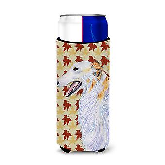 Borzoi Fall Leaves Portrait Ultra Beverage Insulators for slim cans SS4381MUK