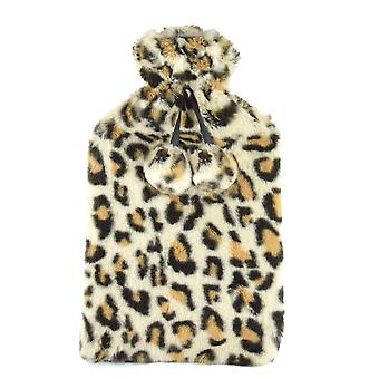 Leopard Design Fleece Covered Natural Rubber Hot Water Bottle 2 Ltr Cream