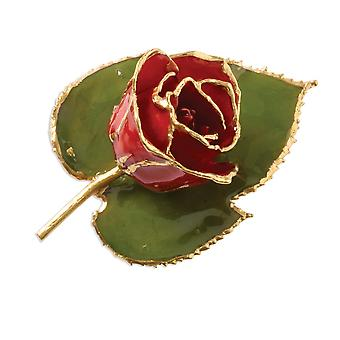 24k Gift Boxed Lacquered finish Gold Trim Red Rose Brooch Pin Jewelry Gifts for Women