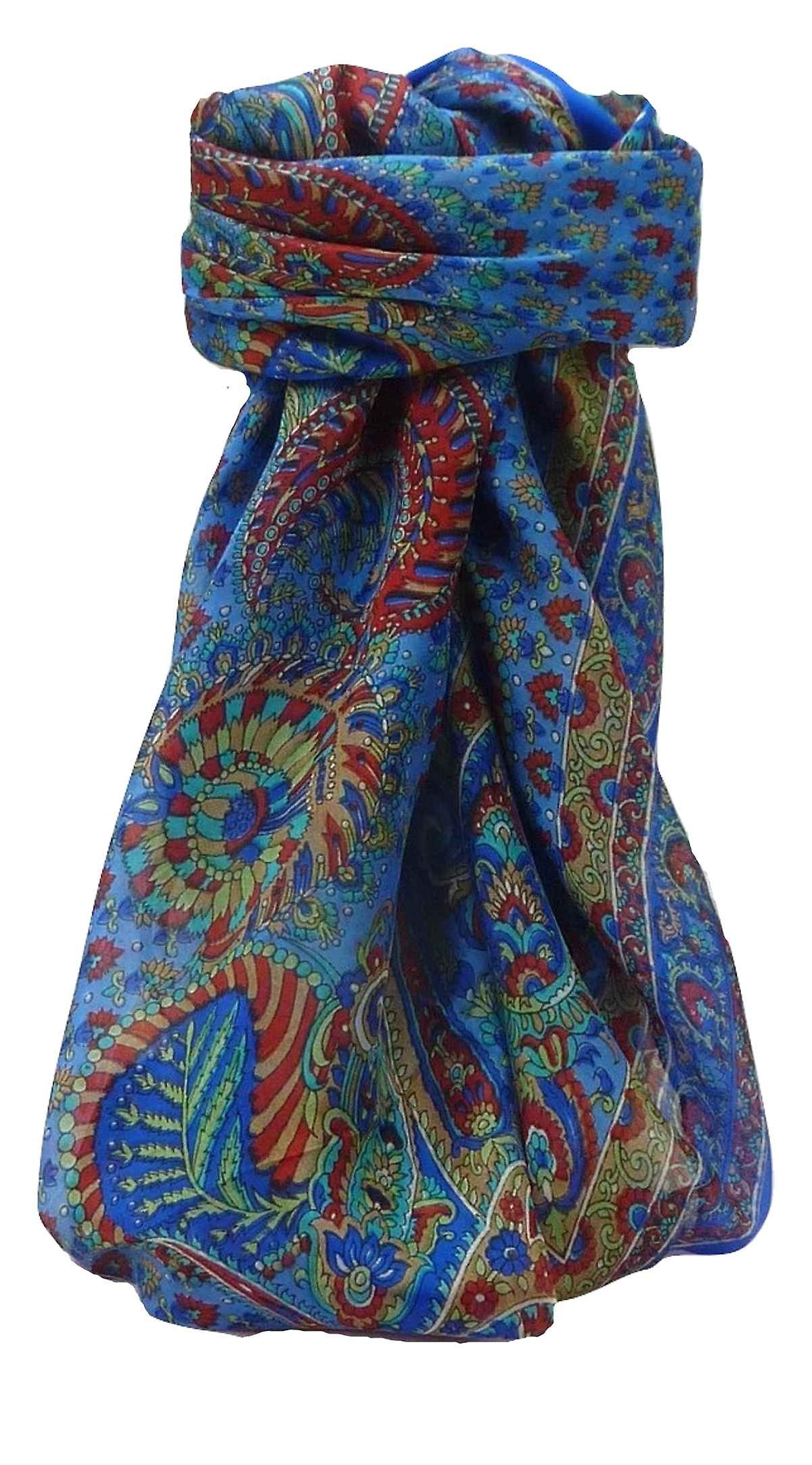 Mulberry Silk Traditional Square Scarf Osh Blue by Pashmina & Silk