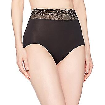 Warner's Women's No Pinching No Problem Microfiber with Lace Brief Panty, Ric...