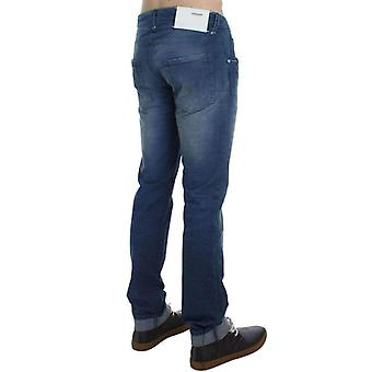 Blue Wash Denim Cotton Stretch Slim Fit Jeans -- SIG3613765