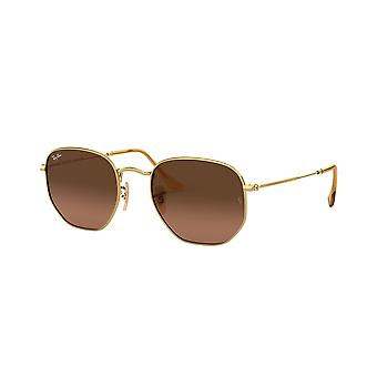 Ray-Ban Hexagonal RB3548N 912443 Gold/Brown Gradient Grey Sunglasses