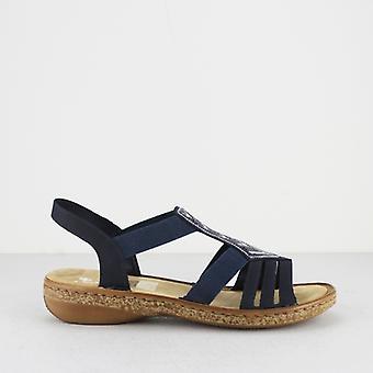 Rieker 62821-14 Ladies slip på sandaler Stillehavet