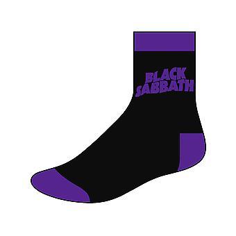 Black Sabbath Mens Socks Classic Wavy Band Logo new Official UK Size 6-8 Black
