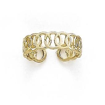 14k Yellow Gold Linked Circles Toe Ring Jewelry Gifts for Women - 1.4 Grams