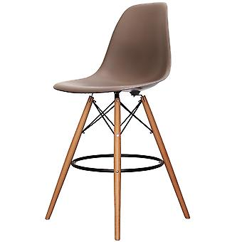 Charles Eames Style Slate Brown Plastic Bar Stool