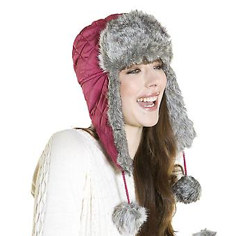 Womens Faux Fur trim Trapper & warme wanten winter thermische set