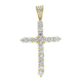 10kゴールドDcメンズクロス高さ52.1mm X幅29.6mm宗教的な魅力ペンダントネックレスネックレスジュエリーギフト