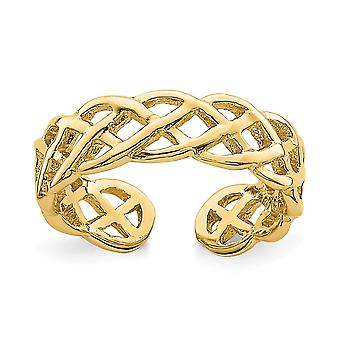 14k Polished Braided Toe Ring Jewelry Gifts for Women - 1.5 Grams