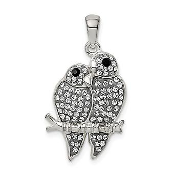 925 Sterling Silver Preciosa Crystal Parrot Couple Pendant Necklace Jewelry Gifts for Women