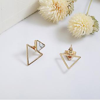 Marble Gold Triangle Earrings - Geometric Studs