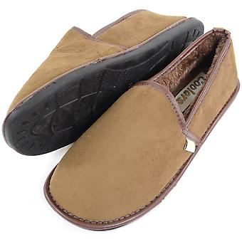 Mens Cosy Thick Faux Fur Lined Slippers with Rubber Sole - Tan - UK 10