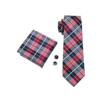 JSS Mens Tartan Pocket Square, Cufflink And Tie Set