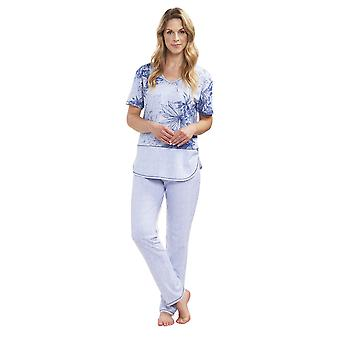 Rösch 1193021-16383 Women's Smart Casual Denim Flowers Blue Striped Cotton Pyjama Set
