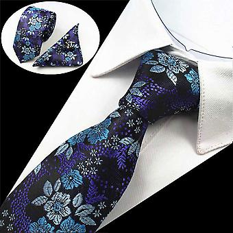 Blue floral driedelige stropdas Manchetknoop & zak vierkante